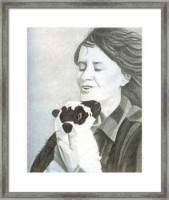 Framed Print featuring the drawing Raven O'keefe And Minnie by Ana Tirolese