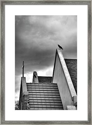 Framed Print featuring the photograph Raven On Church by James Bethanis