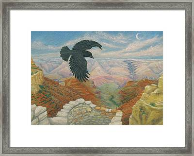 Raven Over The South Rim  Framed Print by Marcia  Perry
