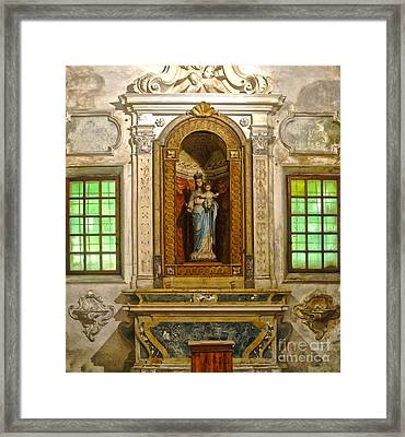 Ravenna Italy - Sant Apollinare Nuovo - Madonna And Child Framed Print by Gregory Dyer