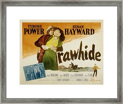 Rawhide, Tyrone Power, Susan Hayward Framed Print
