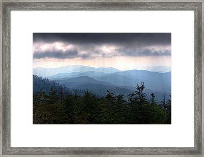 Rays Of Light Over The Great Smoky Mountains Framed Print by Pixel Perfect by Michael Moore