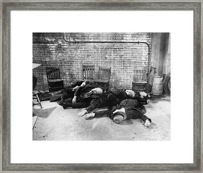 Re-enactment Of The St. Valentines Day Framed Print by Everett