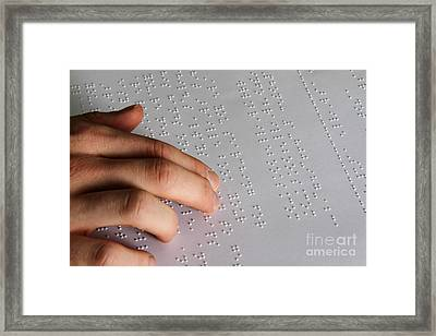 Reading Braille Framed Print by Photo Researchers, Inc.