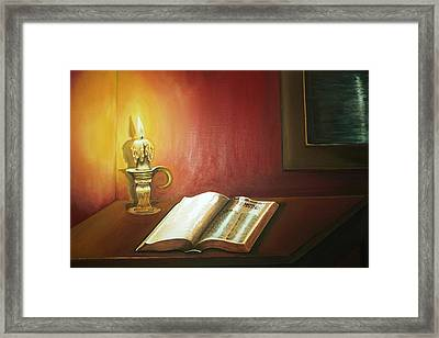 Reading By Candlelight Framed Print