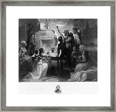 Reading Emancipation Proclamation Framed Print by Photo Researchers