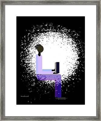 Framed Print featuring the digital art Reading In Window Light  by Asok Mukhopadhyay
