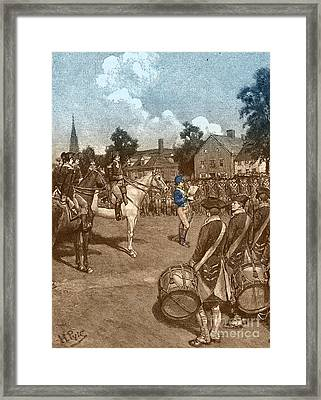 Reading The Declaration Of Independence Framed Print by Photo Researchers