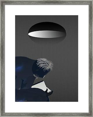 Reading Under Lamplight Framed Print