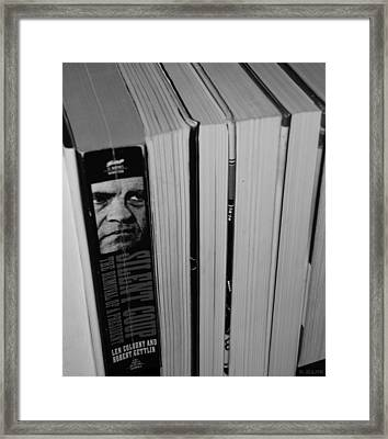Reading With Dick In Black And White Framed Print