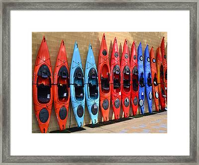 Framed Print featuring the photograph Ready Kayaks by Mary Zeman