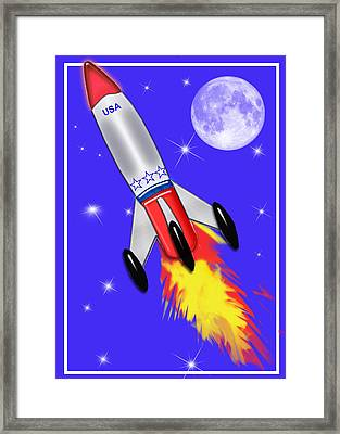 Really Cool Rocket In Space Framed Print by Elaine Plesser