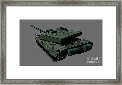 Rear View Of A British Challenger II Framed Print by Rhys Taylor