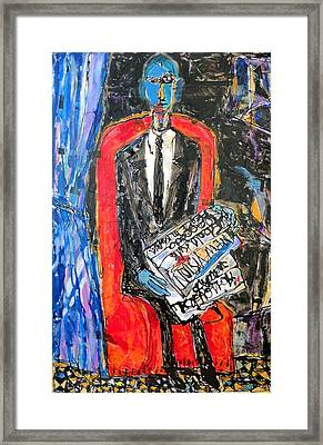 Recalling The Portrait Of An Unknown Man Reading A Newspaper Chevalier X By Andre Derain Framed Print by Eria Nsubuga