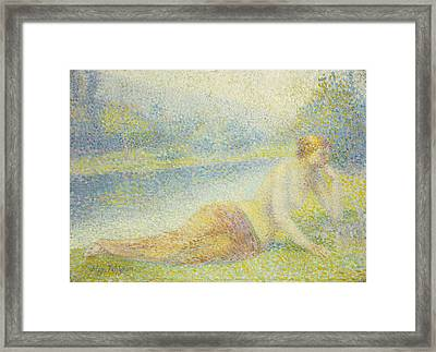 Reclining Nude Framed Print by Hippolyte Petitjean