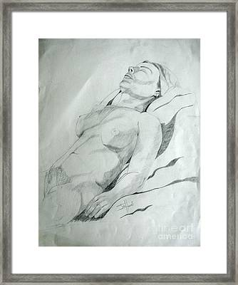 Reclining Nude Framed Print by Julie Coughlin