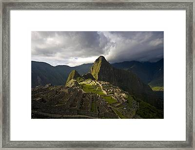Reconstructed Stone Buildings On Machu Framed Print