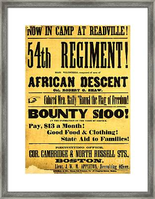 Recruiting Poster, 1863 Framed Print