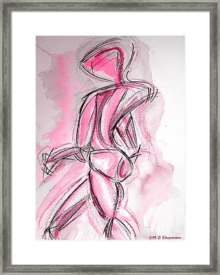Red Abstract Nude Framed Print by M C Sturman