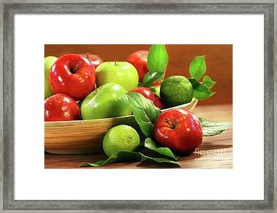 Red And Green Apples In A Bowl Framed Print by Sandra Cunningham