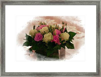 Red And Green Roses Framed Print