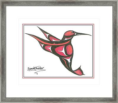 Red And Oj Humming Bird Framed Print