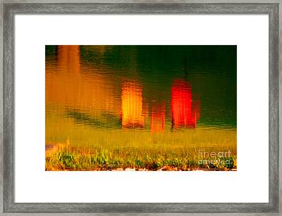 Framed Print featuring the photograph Red And Orange Chairs by Les Palenik