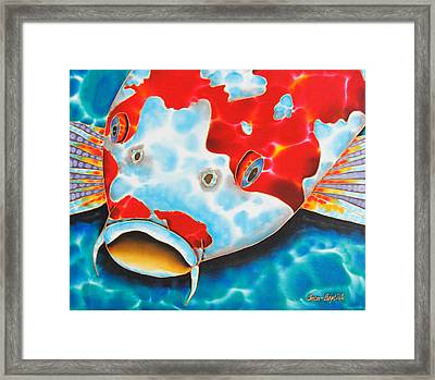 Red And White Koi     Framed Print by Daniel Jean-Baptiste