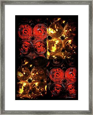 Red And White Wine Collage Framed Print by Joan  Minchak