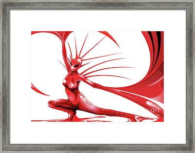 Framed Print featuring the drawing Red Angel by Brian Gibbs