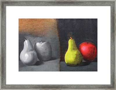 Red Apple Pears And Pepper In Color And Monochrome Black White Oil Food Kitchen Restaurant Chef Art Framed Print