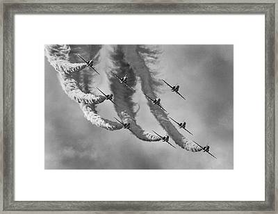 Red Arrows Black And White Framed Print by Ken Brannen