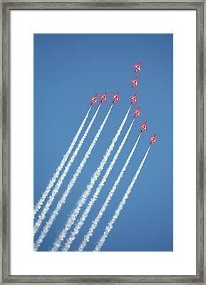 Red Arrows In Action Framed Print by Paul Cowan
