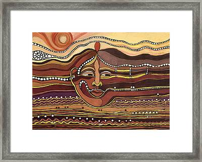 Red Aztec Face In Nature Landscape Abstract Fantasy With Earth Colors Sunset And Skyline Framed Print by Rachel Hershkovitz