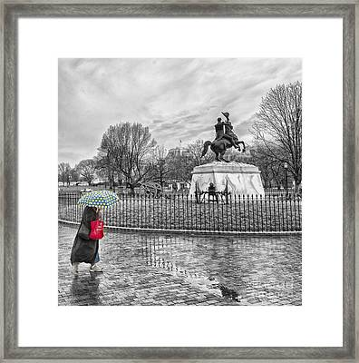 Framed Print featuring the photograph Red Bag Lafayette Park by Jim Moore