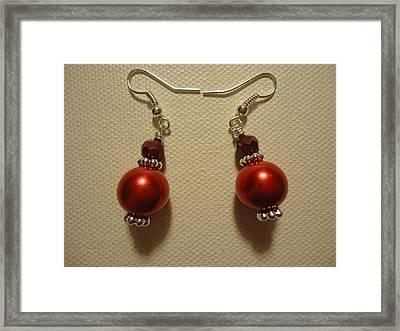 Red Ball Drop Earrings Framed Print by Jenna Green