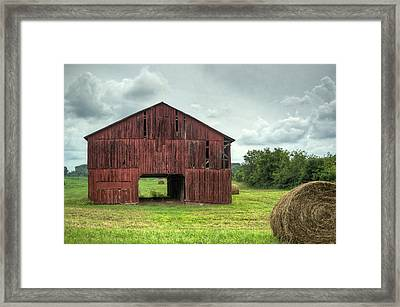 Red Barn And Hay Bales 2 Framed Print by Douglas Barnett