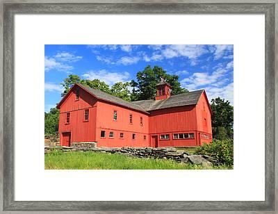 Red Barn At Bryant Homestead Framed Print by John Burk