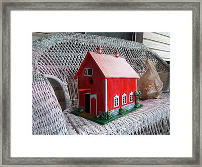 Red Barn Bird House Framed Print by Gordon Wendling