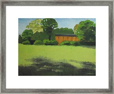 Red  Barn  In  Meadow Framed Print by Robert Rohrich