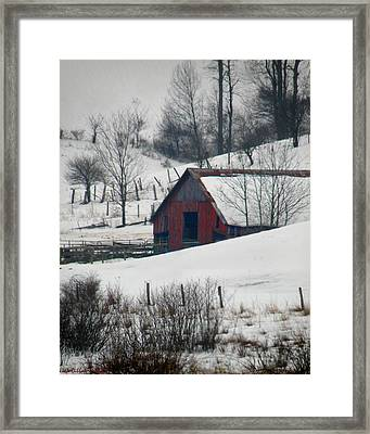 Red Barn In Snow Framed Print