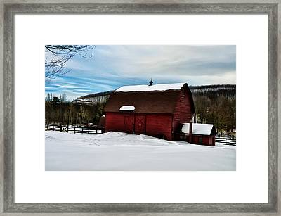 Red Barn In The Snow Framed Print by Bill Cannon