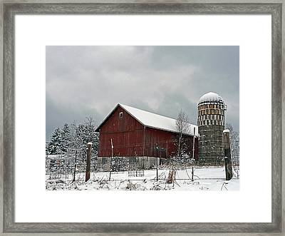 Framed Print featuring the photograph Red Barn In Winter by Judy  Johnson