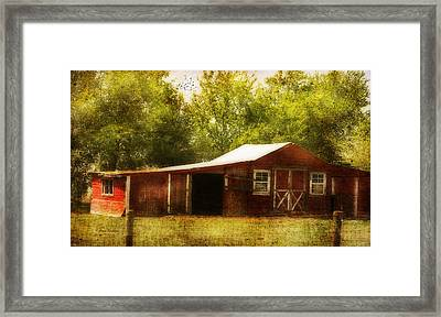 Framed Print featuring the photograph Red Barn by Joan Bertucci