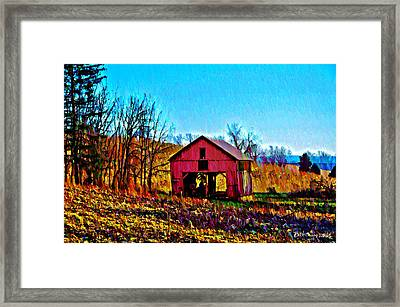 Red Barn On A Hillside Framed Print by Bill Cannon
