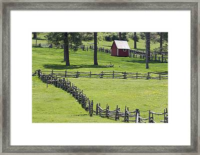 Red Barn On Highway 160 Near Pagosa Framed Print by Rich Reid