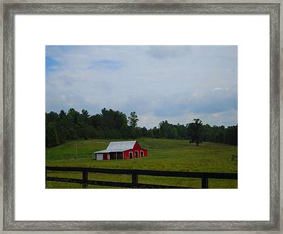 Red Barn Framed Print by Victoria Ashley