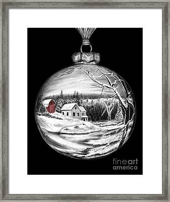 Red Barn Winter Scene Ornament  Framed Print