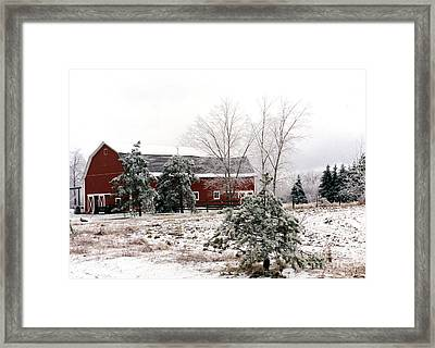 Michigan Red Barn Winter Scene Snow Landscape Framed Print by Kathy Fornal
