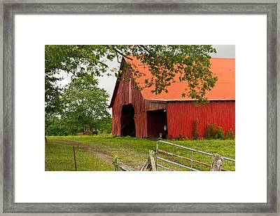 Red Barn With Orange Roof 1 Framed Print